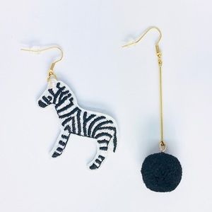 New! Zebra Pom Pom Dangle Earrings Black